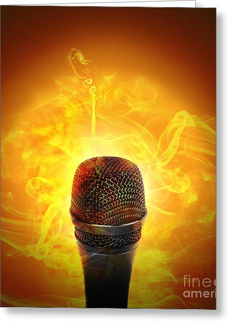 Hot Music Microphone Burning Greeting Card by Angela Waye