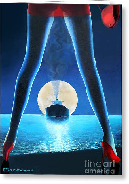 Hot Night Greeting Card by Miki Karni