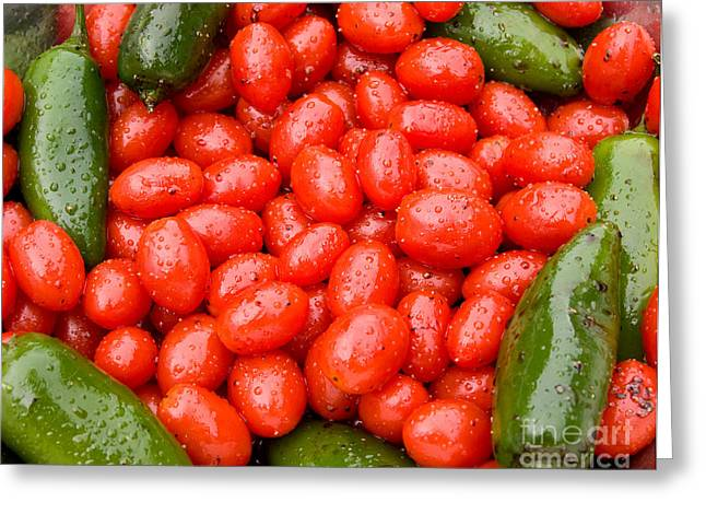 Hot Peppers And Cherry Tomatoes Greeting Card