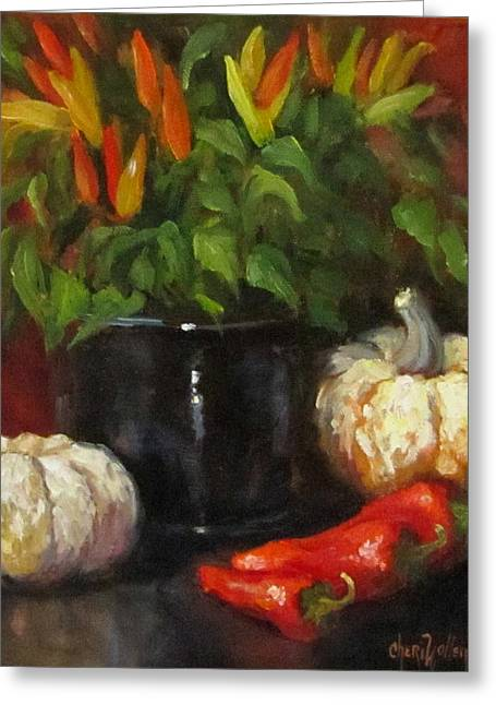 Greeting Card featuring the painting Hot Peppers And Gourds by Cheri Wollenberg