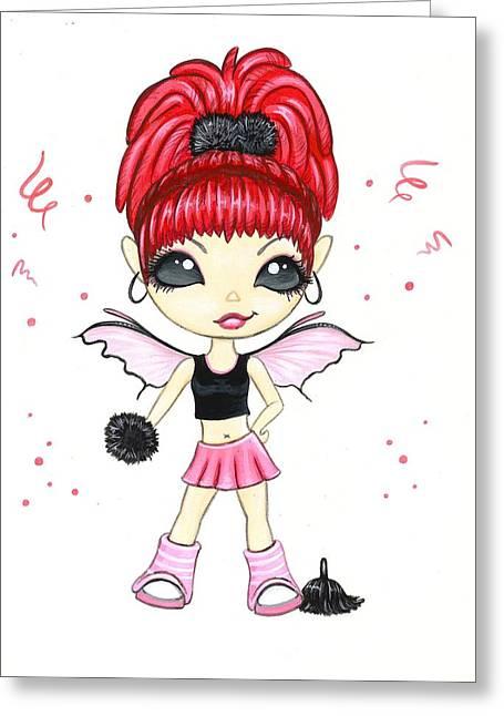 Hot Pink Cheerleader  Greeting Card by Elaina  Wagner