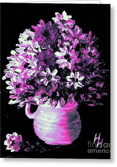 Hot Pink Flowers Greeting Card by Hazel Holland