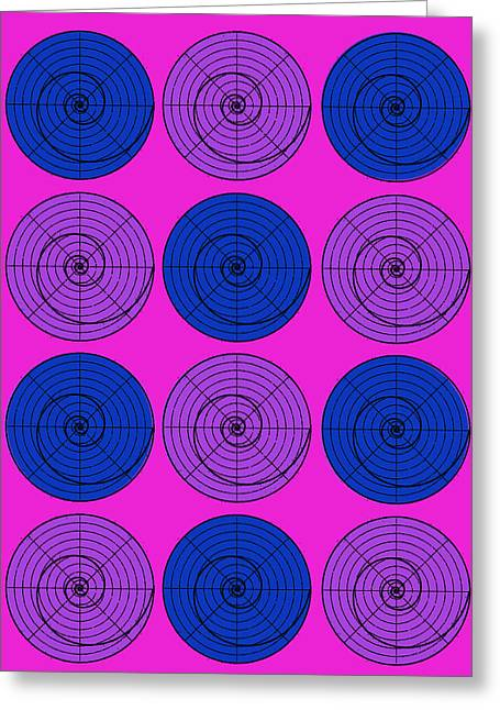 Hot Pink Orb Circle Bubble Pop A La After Warhol Greeting Card
