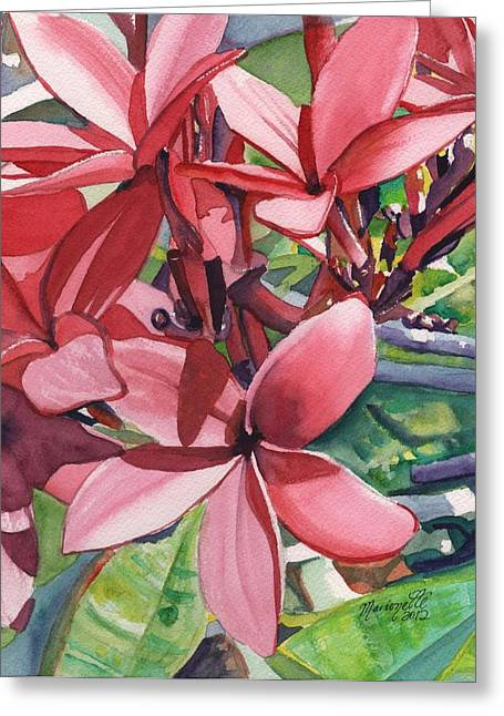 Hot Pink Plumeria Greeting Card