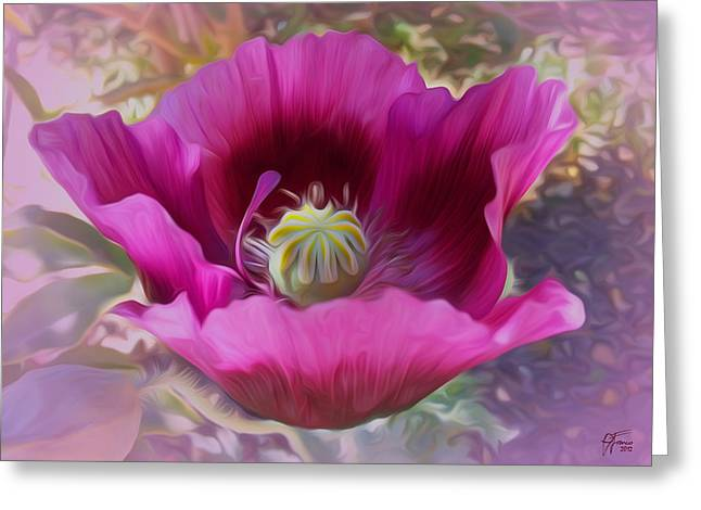 Hot Pink Poppy Greeting Card by Vincent Franco