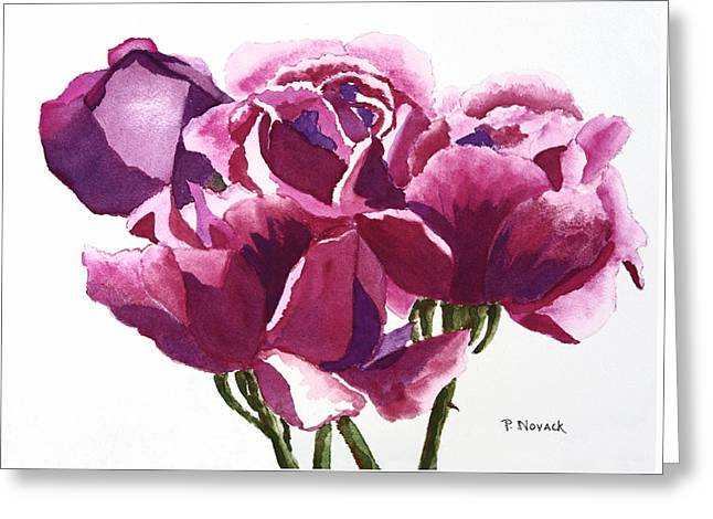 Hot Pink Roses Greeting Card by Patricia Novack