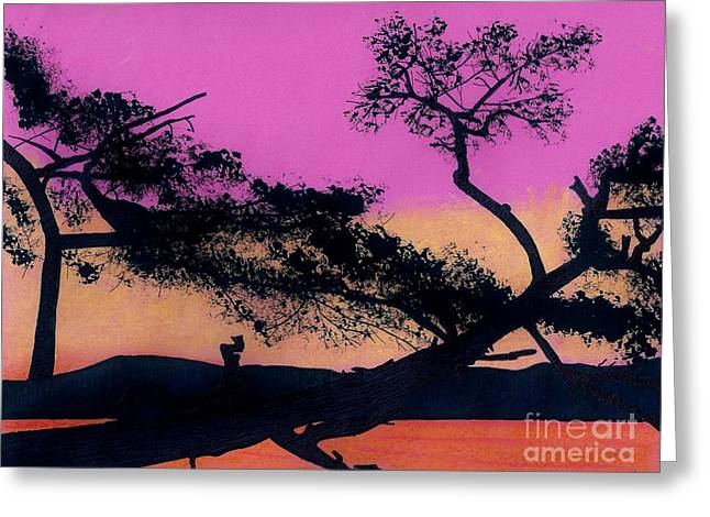 Greeting Card featuring the drawing Hot Pink Sunset by D Hackett