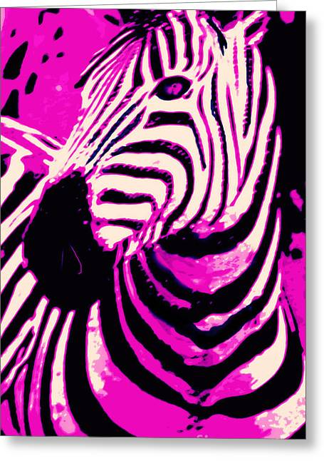 Hot Pink Zebra  Greeting Card