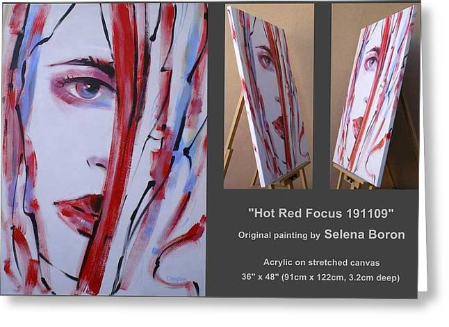 Greeting Card featuring the painting Hot Red Focus 191109 by Selena Boron