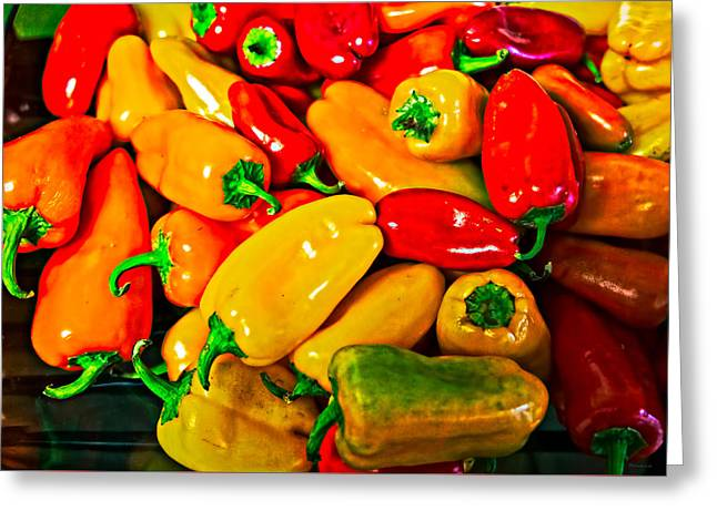 Hot Red Peppers Greeting Card
