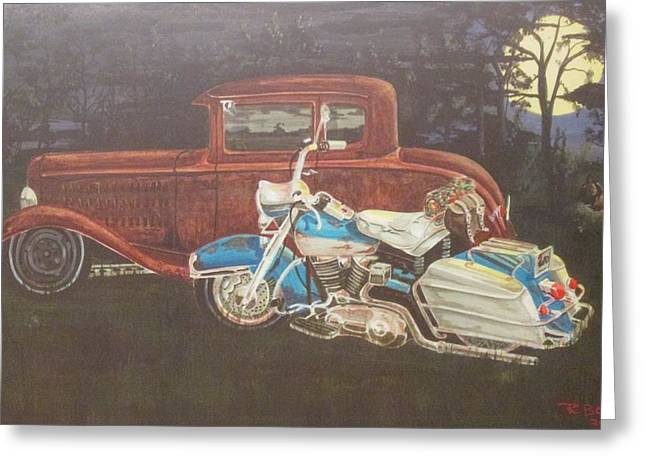 Hot Rod And Harley Greeting Card by Russell Boothe