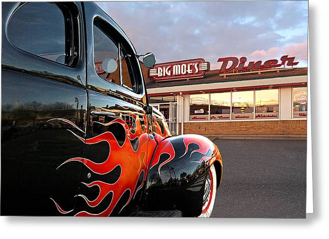 Hot Rod At The Diner At Sunset Greeting Card by Gill Billington