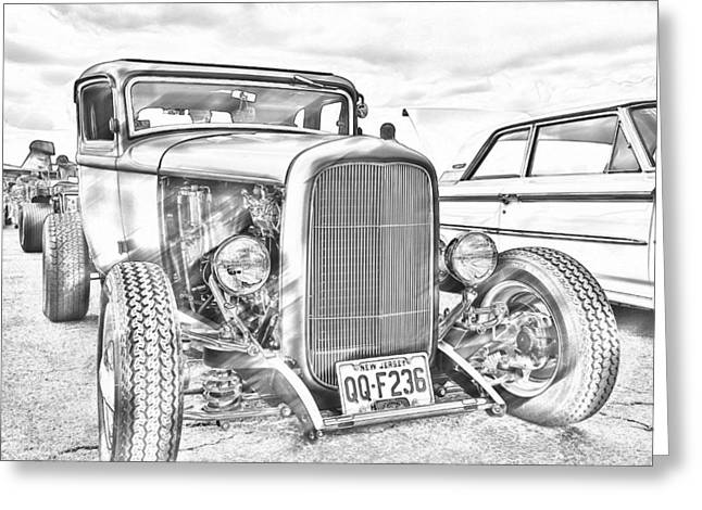 Hot Rod Faux Sketch Greeting Card