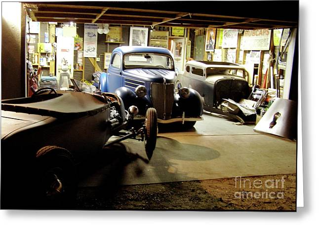 Hot Rod Garage Greeting Card by Alan Johnson