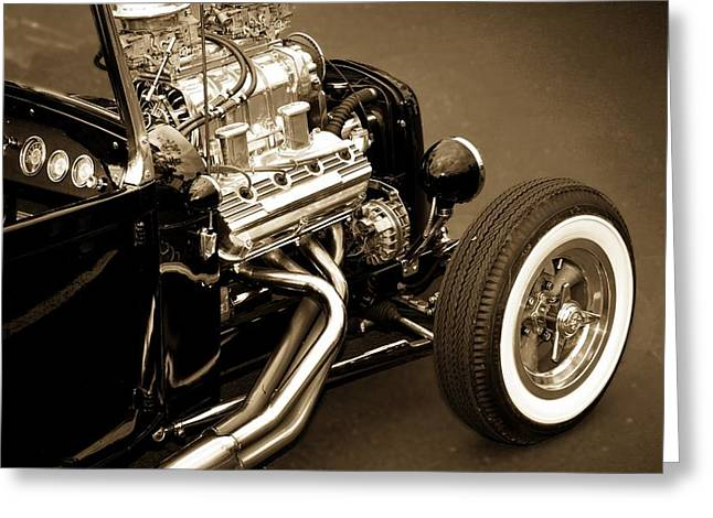 Black And White Greeting Card featuring the photograph Hot Rod Power  by Aaron Berg