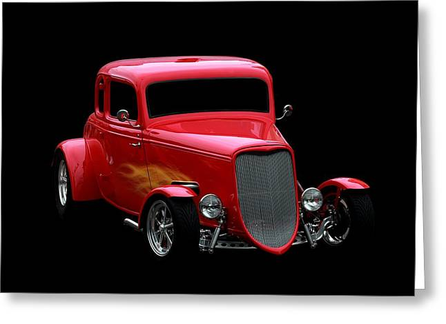 Vehicles Greeting Card featuring the photograph Hot Rod Red by Aaron Berg