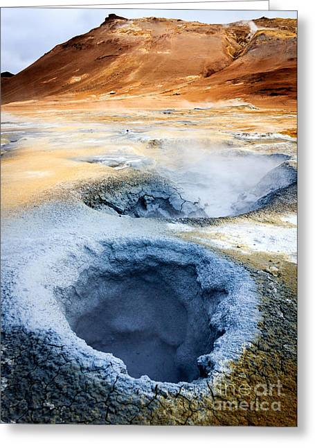 Greeting Card featuring the photograph Hot Springs At Namaskard In Iceland by Peta Thames