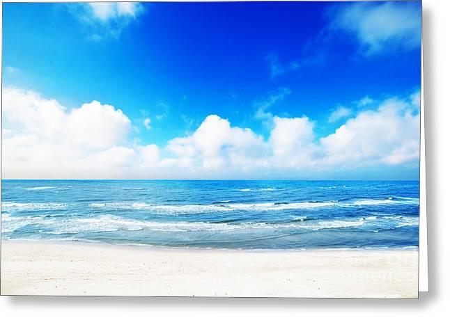 Hot Summer Beach Greeting Card by Michal Bednarek