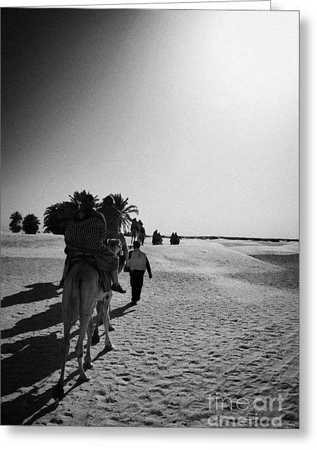 hot sun beating down on tourists taking a camel ride into the sahara desert at Douz Tunisia Greeting Card by Joe Fox