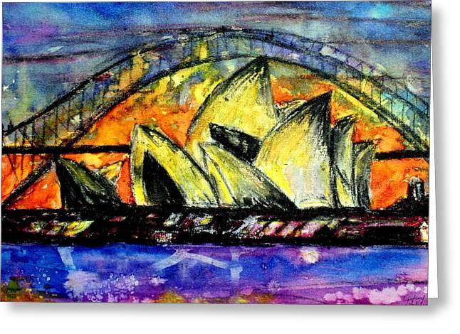 Hot Sydney Night Greeting Card by Lyndsey Hatchwell