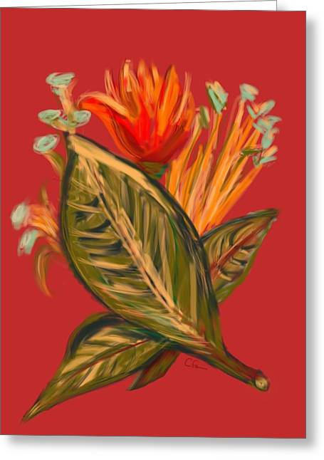 Greeting Card featuring the digital art Hot Tulip L by Christine Fournier