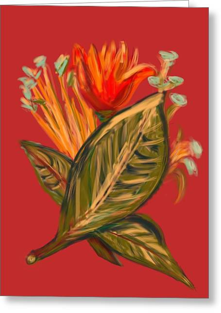Greeting Card featuring the digital art Hot Tulip R by Christine Fournier
