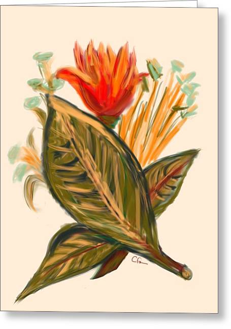 Greeting Card featuring the digital art Hot Tulip Spring by Christine Fournier
