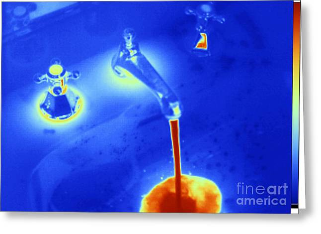 Hot Water From A Faucet, Thermogram Greeting Card by GIPhotoStock