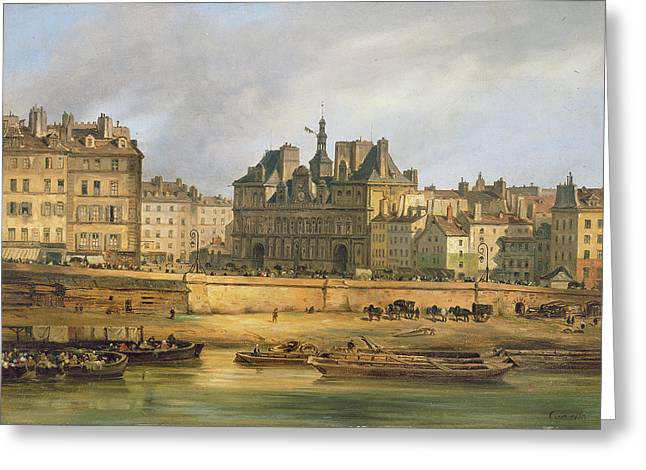 Hotel De Ville And Embankment, Paris, 1828 Oil On Canvas Greeting Card