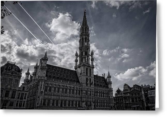 Hotel De Ville Brussels Greeting Card by Joan Carroll