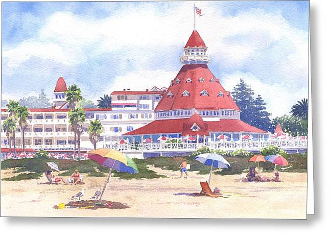 Hotel Del Coronado Beach Greeting Card by Mary Helmreich