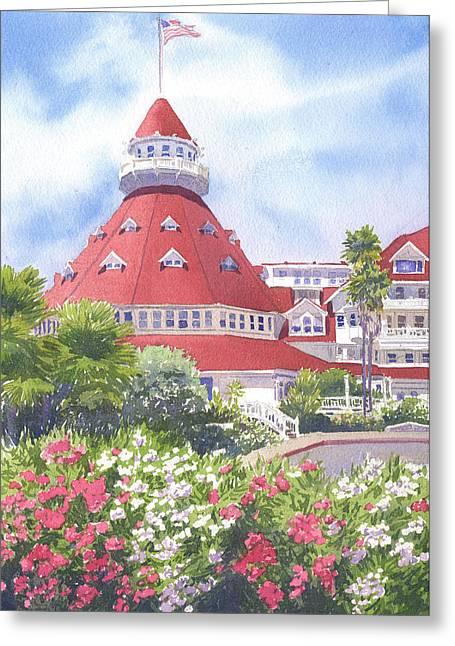 Hotel Del Coronado Palm Trees Greeting Card by Mary Helmreich