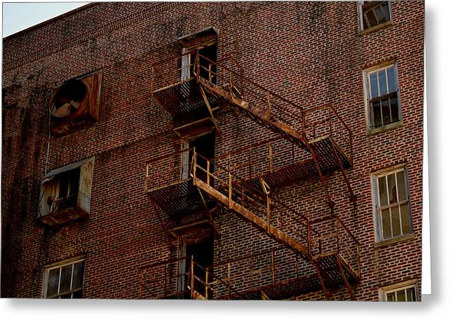 Hotel Grim Fire Escape Greeting Card by Joel Wright