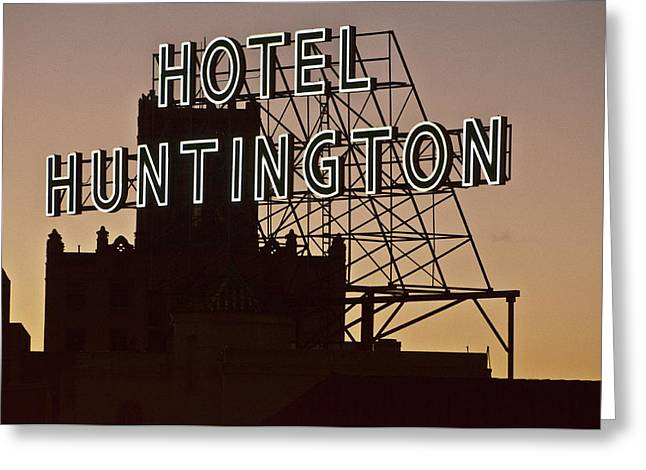 Hotel Huntington Greeting Card by Larry Butterworth