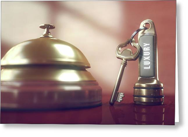 Hotel Key And Bell Greeting Card by Ktsdesign/science Photo Library