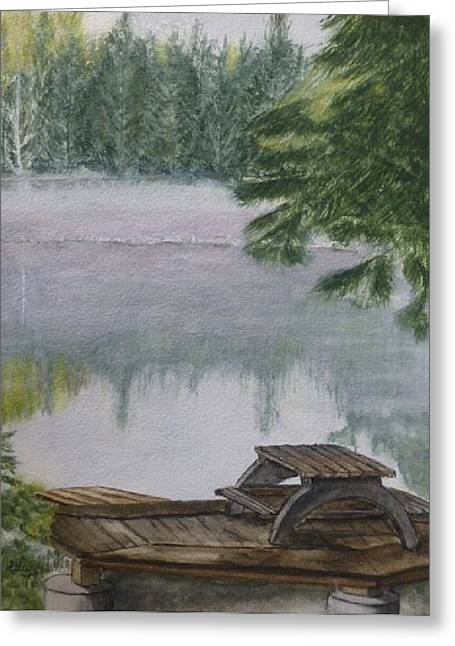 Greeting Card featuring the painting Hotel Lake Resort In Bc by Kelly Mills