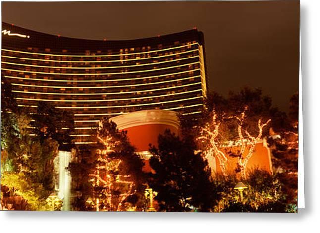Hotel Lit Up At Night, Wynn Las Vegas Greeting Card