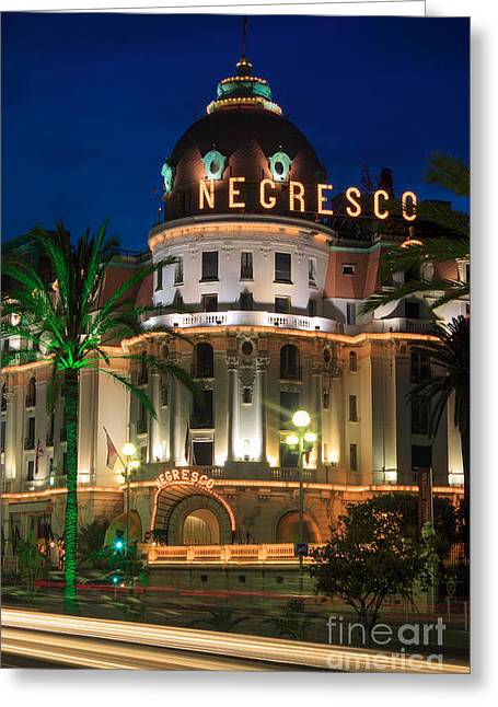 Hotel Negresco By Night Greeting Card by Inge Johnsson