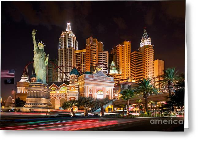 Hotel New York New York - Las Vegas Greeting Card by Henk Meijer Photography