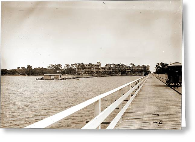 Hotel Ormond From Bridge, Ormond, Fla, Hotels, Resorts Greeting Card