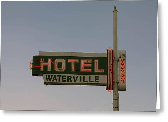 Hotel Waterville Neon Sign Greeting Card