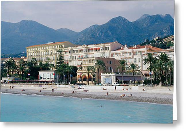 Hotels On The Beach, Menton, France Greeting Card