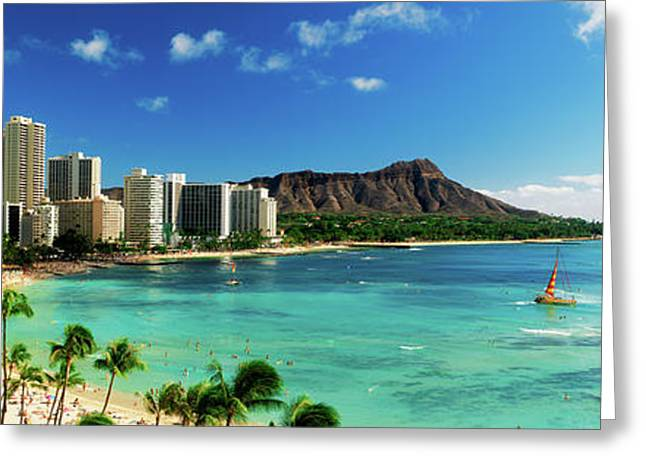 Hotels On The Beach, Waikiki Beach Greeting Card