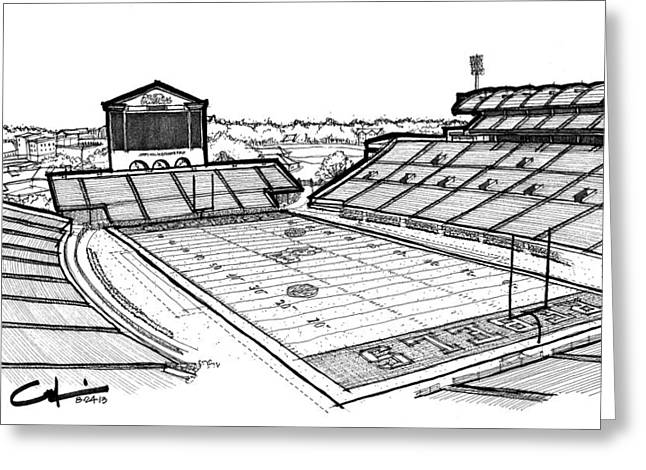 Greeting Card featuring the drawing Hotty Toddy by Calvin Durham