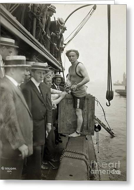 Houdini Overboard Box Escape, 1912 Greeting Card by Photo Researchers