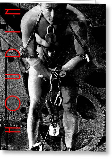 Houdini Steampunk 20140222 Black And White V3 Greeting Card