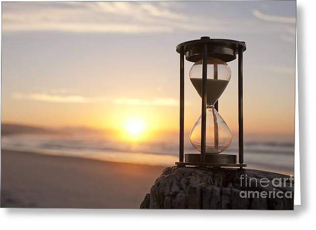 Hourglass Sand Timer Beach Sunrise Greeting Card by Colin and Linda McKie