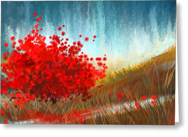 Hours Of Autumn- Turquoise And Red Greeting Card by Lourry Legarde