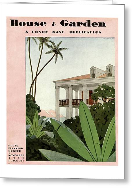 House & Garden Cover Illustration Greeting Card