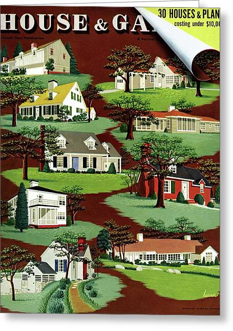 House & Garden Cover Illustration Of 9 Houses Greeting Card by Robert Harrer